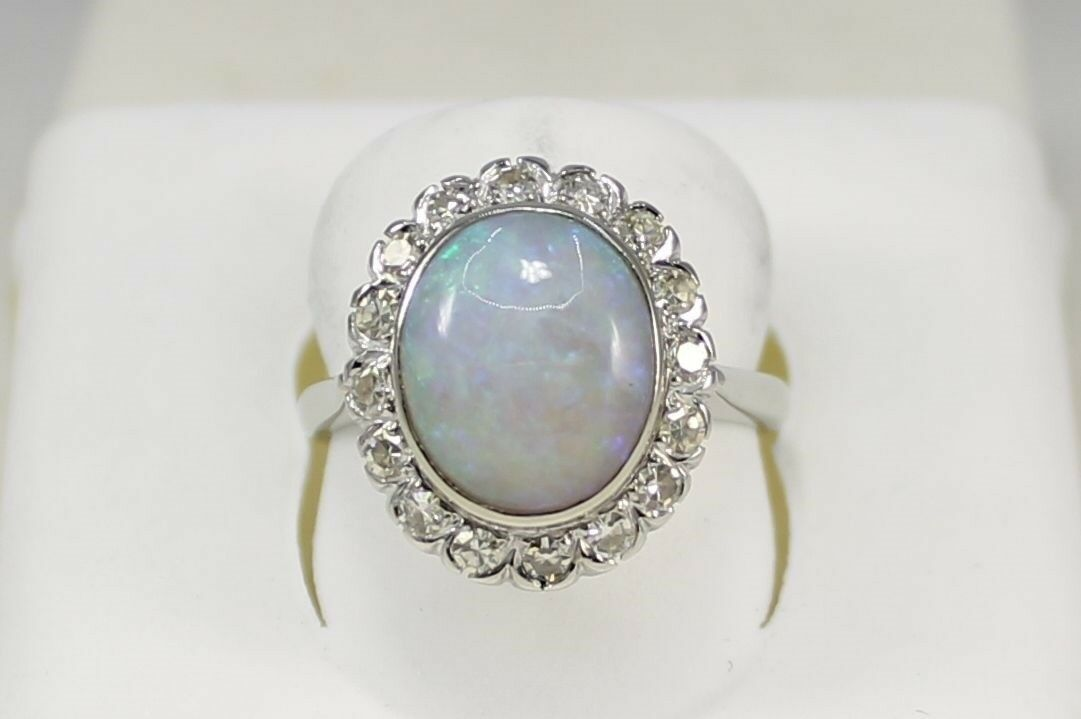 Vintage Opal and Diamond Ring in 14k White gold