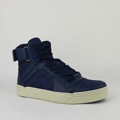 Gucci Blue Guccissima Pattern Nylon Hi Top Sneaker w/Leather Trim 409766 4275