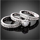 3pcs Women Silver plated Cubic Zirconia Engagement Band Ring Size wedding 7-9