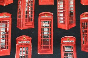 Red-telephone-box-fabric-with-Black-background