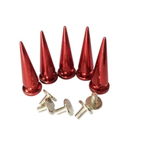 10pcs Cone Spikes Studs Punk Rivets DIY Bag Belt Shoes Clothes Decor Red
