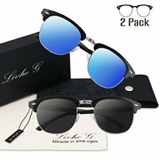 4afd9967ee 2pcs Semi Rimless Frame Retro Classic Polarized Sunglasses Women Men Sun  Glasses