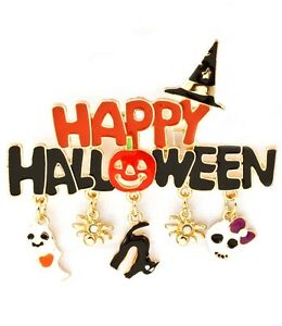 Happy-Halloween-Brooch-Cat-Ghost-Spider-Phrase-Witch-Hat-Pumpkins