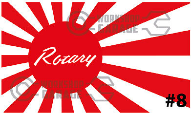 ROTARY JDM STICKERS for RX2 RX3 RX4 RX7 RX8 - RISING SUN ROTARY #08