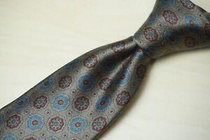 Sulka Metallic Sateen Silver Sky Blue Garnet Floral ALL SILK Tie