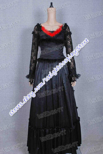 Sweeney Todd Cosplay Mrs Lovett Costume Black Lace Dress Outfit Halloween Party