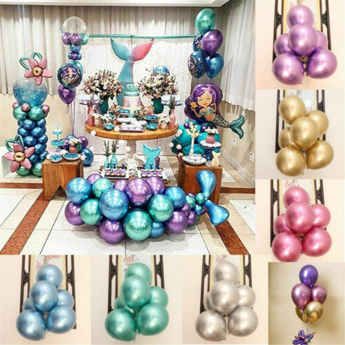 "12 /""Metallic Chrome Latex Luftballons Bouquet Geburtstag Dating Hochzeit Party"