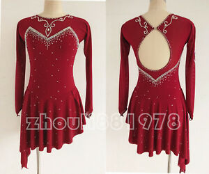 636bfe1797d8b New Girls Ice Figure Skating Dress For Competition Wine Red Classic ...