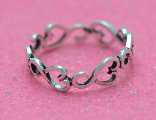 Sterling Silver.925 INTERTWINE Filigree Heart Infinity Band /& Thumb Ring 3 TO 10