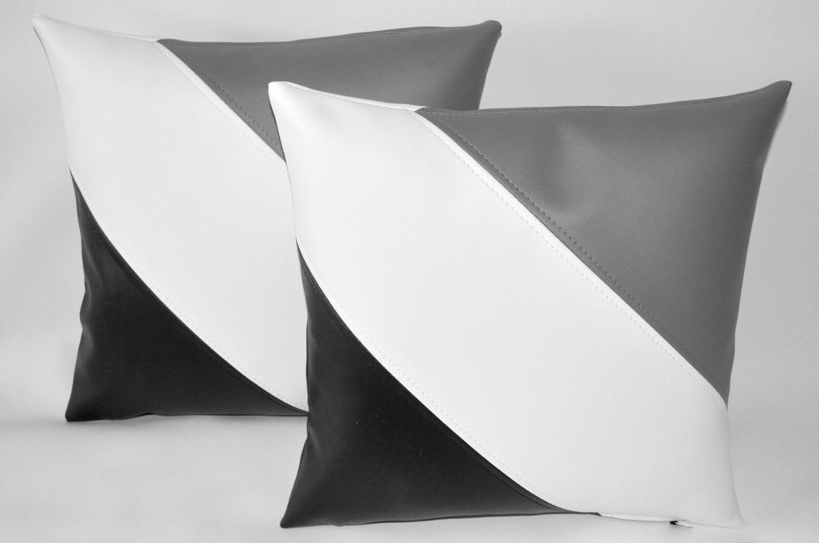 2 BLACK WHITE WHITE WHITE & GREY Diagonal Stripe Faux Leather Cushions 16