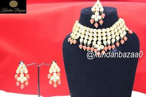 8503f024352a8 Details about Indian Red Pearl Kundan Choker Necklace Earring Set Bollywood  Bridal Jewellery