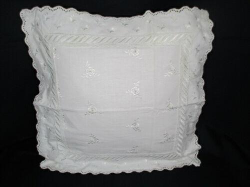 100/% Bw G Zazoo Deko Kissen Shabby Look 40x40 cm Weiß Stickerei Landhaus-Stil