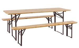 Tavoli Pieghevoli Da Birreria.Dettagli Su Set Tavolo Birreria 180x60 Cm Pieghevole Da Esterno Giardino Legno Con 2 Panche