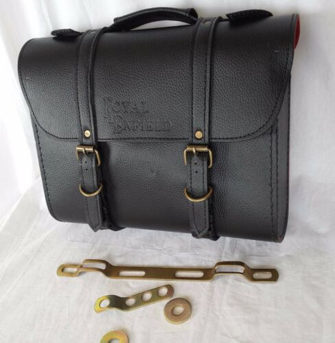 PAIR OF ROYAL ENFIELD BLACK COLOR SADDLE CARRIER BAG SET WITH FITTING STRIPS