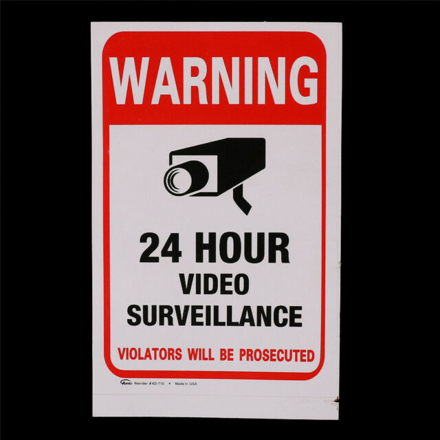 5pcs 24H CCTV Video Camera System Security Warning Sign Sticker JH