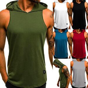 90616a2d Image is loading Mens-Hooded-Hoodie-Vest-Tank-Tops-Sweatshirt-Gym-