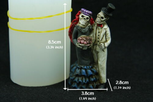 Skull bride/&groom Silicone Mold Chocolate Polymer Clay Jewelry Soap Wax Resin