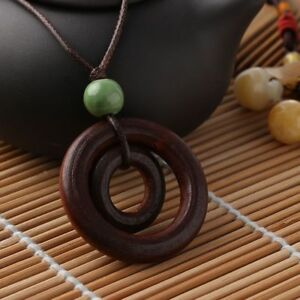 Geschenke-Keramik-Braun-Holz-Halskette-Doppelkreis-Anhaenger-Seilkette-Lange