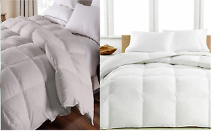 100-Egyptian-Cotton-1200-TC-Luxury-Comforter-Siberian-Goose-Down-White-amp-Gray