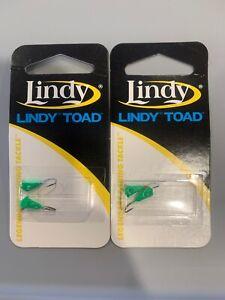 2 Packs Lindy Ice Fishing Jigs Ice Worm #8 Green Glow