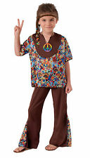 Boys Hippie Costume Shirt & Bell Bottom Pants1970's KIds Outfit Size Large 12-14