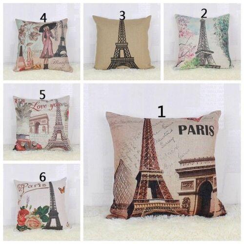 Cotton Linen Paris Eiffel Tower Pillow Case Decorative Cushion Cover