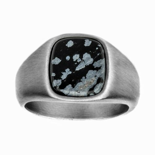 INOX 316L Stainless Steel with Snowflake Obsidian Stone Men/'s Signet Ring
