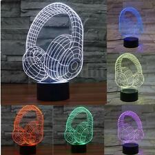 3D Headphone 7 Colors USB Night Change LED Light Desk Table Lamp Christmas Gifts