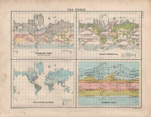 1902 MAP ~ THE WORLD PREVAILING WINDS ANNUAL RAINFALL OCEANT ...