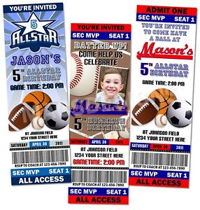 Image Is Loading All Star Sports Birthday Party Ticket Invitations Favor  Party Ticket Invitations