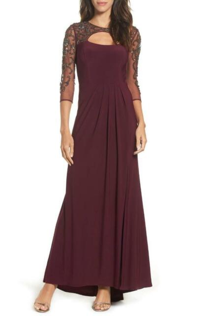 a42753a3 Xscape Beaded Jewel Cutout Illusion 3/4 Long Sleeve Stretch Gown-Size 10 (