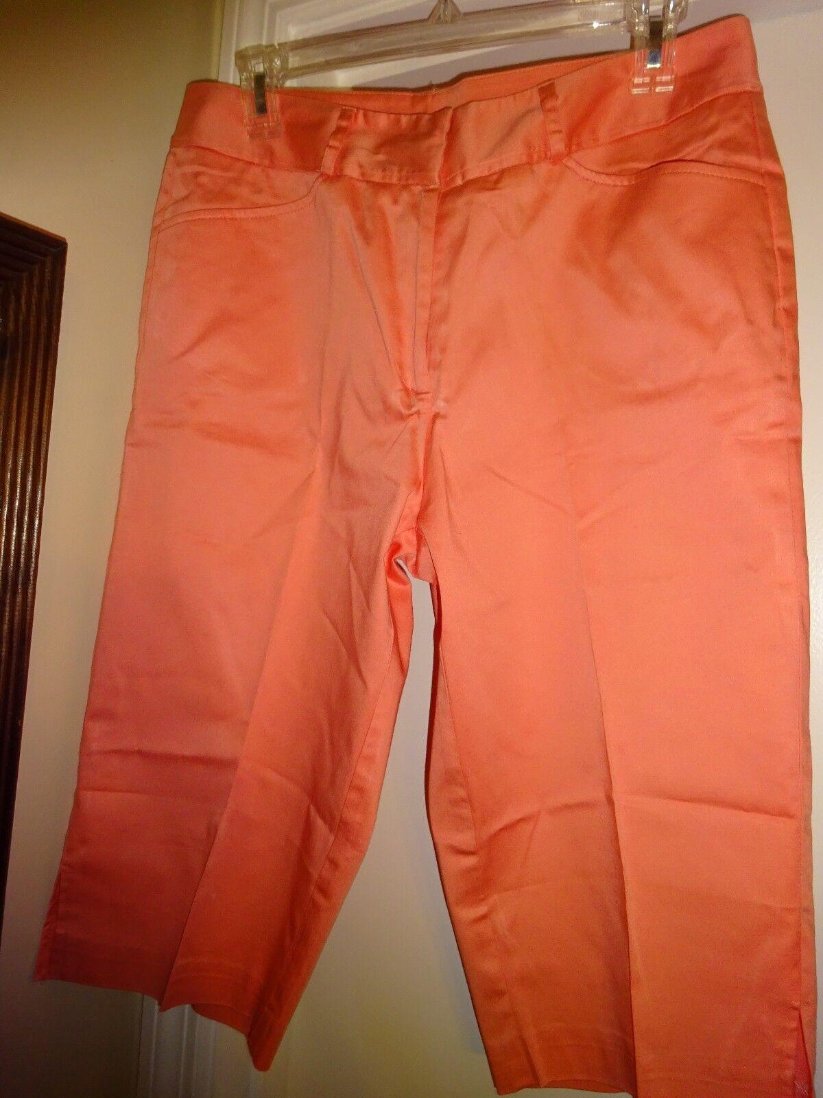 La Vita Capri Capri's Light orange Sz 10 Cropped Pants Zip Front Cotton Spandex