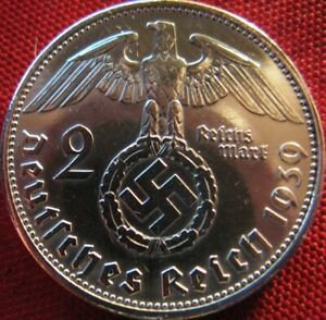 Nazi-German-2-Reichsmark-SILVER-1939-Genuine-Coin-Third-Reich-EAGLE-SWASTIKA-WW2