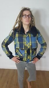 03fd848de Details about Diesel Womens Tartan Check blue yellow navy Wool Cropped  Bomber Jacket Small S