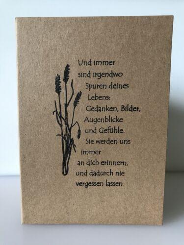 Trauerkarte mit Umschlag Kondolenz Trauer Beileid Handarbeit