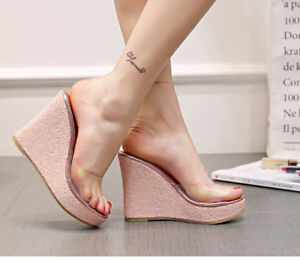 Fashion-Womens-Girls-Mules-Clear-High-Wedge-Heels-Platform-Sandals-Casual-Shoes