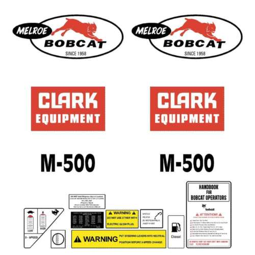 M500 Bobcat Stickers M500 Bobcat Decals Skid Steer LOADER DECAL SET