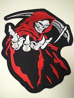 "(F1) HOODED GRIM REAPER SKULL 14"" x 12"" iron on Back patch Choose Color"