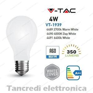 Lampadina-led-V-TAC-4W-E27-VT-1939-A60-cover-bianca-filamento-lampada-opaca-bulb