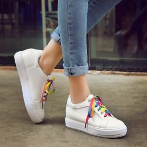 New Ladies Round Toes Flats Hight Top Canvas Boots Lace Up Rainbow Colours Shoes