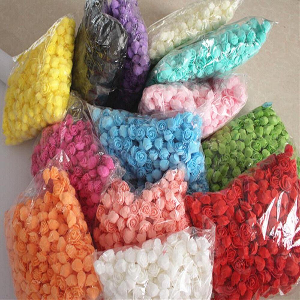 500Pcs Foam Rose Head Artificial Flower for DIY Bear Doll Wedding Decor Spirited Flowers, Petals & Garlands