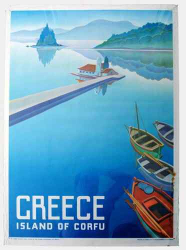 A2 Vintage Travel Posters Parthenon Dipsos Corfu Greece Poster