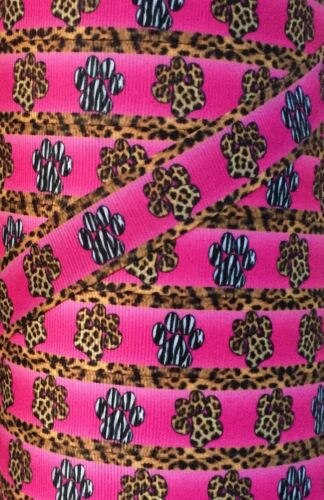 "5 Yards 7//8/"" INTO THE WILD ZEBRA LEOPARD PAW GROSGRAIN Ribbon 4 HAIRBOW FOOTBALL"