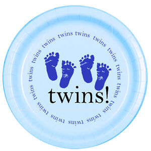 Blue-Baby-Boy-Shower-Party-TWINS-FOOTPRINTS-DESSERT-CAKE-PLATES