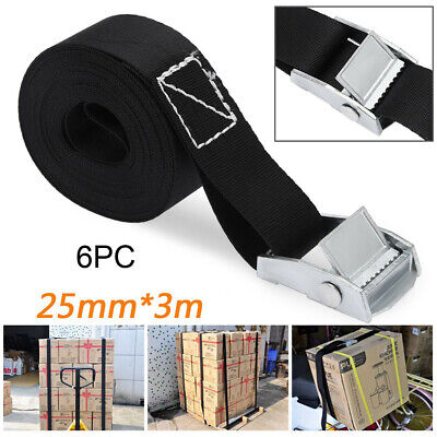 6pcs Cargo Luggage Lashing Strap Ratchet Belt Tie Down Cam Buckle Roof Rack 8ft