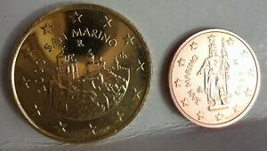 pièces rares 2 cts et 50 cts SAN MARIN  2003 neuves juste sorties du coffret BU