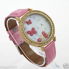 Uurwerk, siersteentjes / polymeer, goudkleur, armband roze Ø 40,5 mm L = 25 cm