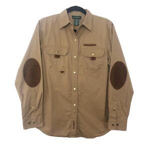 Lauren-Ralph-Lauren-Women-039-s-Tan-Small-Snap-Front-Shirt-Long-Sleeve-Elbow-Patches