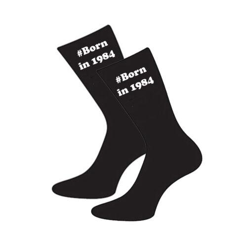 #Birthday Hashtag avec année né en Taille UK 5-12 Chaussettes Âge Anniversaire-X6V