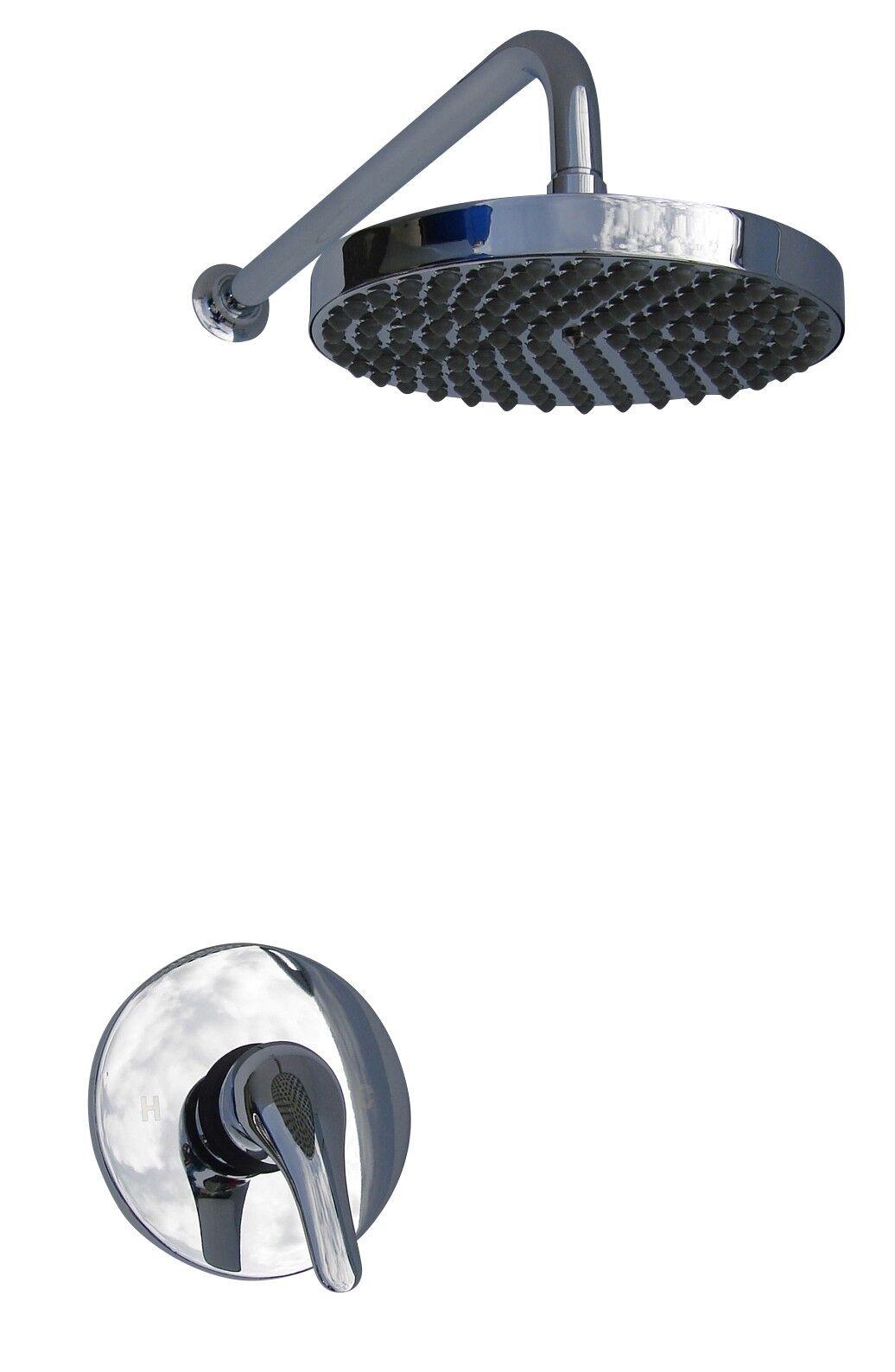 Dissimulé douche mélangeur robinet robinet pluie tête & bras Set, tout métal et chrome, 003